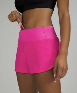 """New Lululemon size 8 speed up mid rise short 4"""" lined POW PINK"""