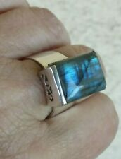Labradorite Solitaire Rectangular Ring Size 8.75 Sterling Silver 11.3 Grams
