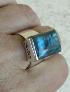 Sterling Silver Size 8.75 Unisex Labradorite Blue Labradorite Ring Labradorite Labradorite ring 8.75- Labradorite Ring 8.75