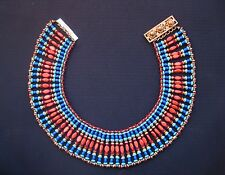 Vtg Miriam Haskell Egyptian Revival Collar Bib Necklace by Vrba