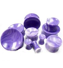 PAIR-Stone Agate Purple Concave Double Flare Ear Plugs 08mm/0 Gauge Body Jewelry