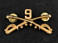 """🌟US Army 9th Cavalry Crossed Sabers Stetson Hat Pin, Gold Tone, Large 2-1/4"""""""