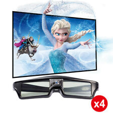 4× Universal Active Shutter 3D Glasses for DLP-Link 3D Projector USB Chargeable