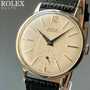 ROLEX Marconi Vintage Watch Manual Winding Case 36mm Men's White Small 1950s