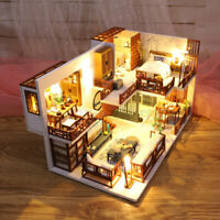 DIY Handcraft 3D Wooden Toy Miniature Kit Dollhouse LED Lights House Kids