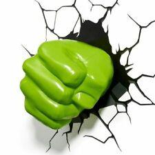 Marvel AVENGERS HULK FIST 3D FX LIGHT Wall DECO Night Light + Sticker GREEN