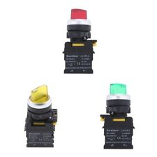 3x 22 mm Panel Mount Led 1NO 1NC DPST 2 Position Rotary Selector Switch IP54