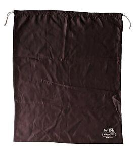 COACH Protective Dust Bag Dustbag Cover Brown Sateen Silver Drawstring XL 29x23