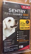 NEW SENTRY fiproguard MAX Dogs 45-88 lbs kills fleas ticks waterproof 3 months