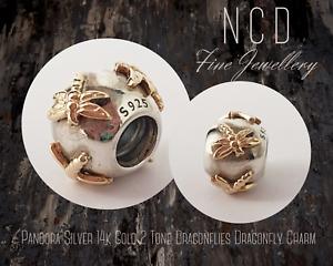 NC Designs Authentic Pandora Silver 14k Gold 2 Tone Dragonflies Dragonfly Charm