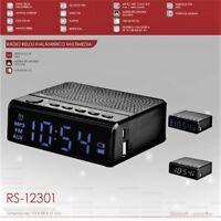 Radio Despertador Multimedia Bluetooth - Bateria Recargable - USB - Micro SD MP3