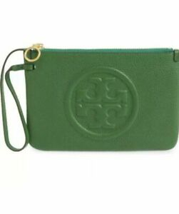 Classy!***NWT Tory Burch Perry zip wristlet, Clutch, Pouch Arugula Green Leather