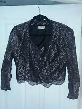 Editions Bronze Lace Shrug / 12 / Lined / 3/4 Length Sleeves / Floral / Gold