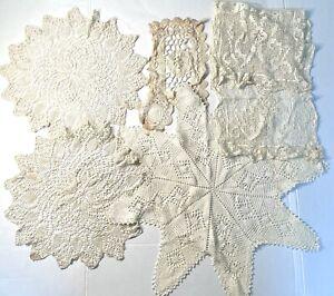 Lot of Antique Vintage Large Filet Lace Crochet Victorian Bobbin Doilies Stars