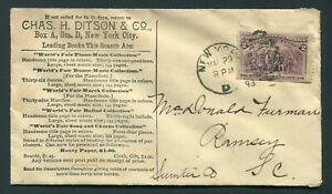 1893 WORLD'S FAIR - SHEET MUSIC - DITSON AD Cover w US#231 COLUMBIAN ISSUE !!