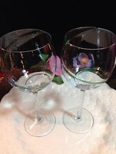 """SET OF 2 CRYSTAL BALLOON WINE GOBLET MOUTH BLOWN 8.5"""" SINGLE COLOR SWIRL LINE"""