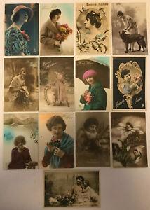 13 x Vintage Antique Bonne Année Glamour Postcards 1900-1930, Women Ladies (P3)