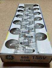 6S6-155V GE LIGHTING Miniature Incandescent Bulb,S6,6W, 155V
