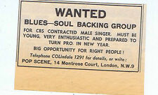 CBS BLUES-SOUL BACKING GROUP ADVERT press clipping 1966 (17/12/1966) 6X9cm