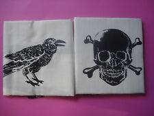 WILLIAMS SONOMA HALLOWEEN KITCHEN TOWELS ICON SKULL RAVEN SET OF 2 NEW