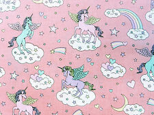 by METRE Cosmo pink UNICORNS Cotton fabric pastel star moon heart kawaii rainbow