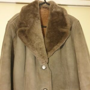 Ladies Vintage Small Taupe Suede And Skeepkin Winter Coat- Very Warm