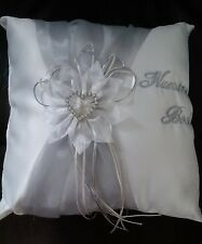 "Ring Bearer Pillows ""Nuestra Boda"" Beige with Silver Heart  10.5"" X 10.5"""