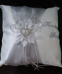 """Ring Bearer Pillows """"Nuestra Boda"""" Beige with Silver Heart  10.5"""" X 10.5"""""""