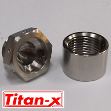 Titanium lambda exhaust plug and weld on insert drilled for lock wire M18x1.5