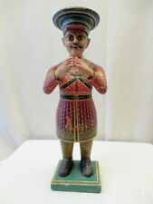 Antique Hindu Temple Figure Of Man Playing Flute Big Hat Decorative Collectibles