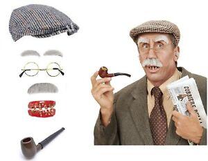 OLD MAN LOOK SET FLAT CAP GLASSES PIPE EYEBROWS TASH PENSIONER OAP GRAN DAD GREY