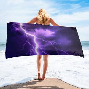 Purple Lightning Themed Beach Towel