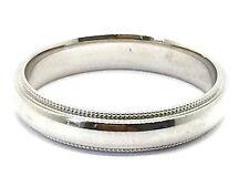Solid 14K White Gold 4 MM Size 11 Milgrain Wedding Ring Band Mens Womens