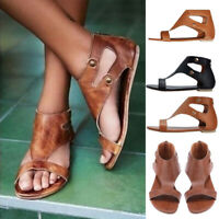 Womens Gladiator Casual Sandals Summer Flats Retro Goth Leather Roma Shoes Size