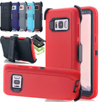 for Samsung Galaxy S8/S8 Plus/S7 Shockproof Hybrid Case Cover &Belt Clip Holster