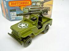 Matchbox SF Nr. 38C Militär Jeep dunkler Aufkleber mit MG top in Box