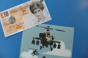 Banksy signed tenner + postcard from the dismaland Theme park 2015 WSM