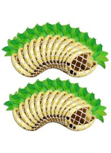 24pcs Green & Gold Foil Pineapple Shaped Birthday Luau Beach Party Paper Plates