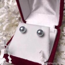 AAA+ 7-7.5mm natural South Sea Silver gray round pearl earrings 18k White Gold