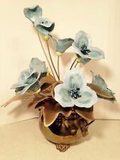 Vintage Rare Brass Planter Lions Head Handles Brass Leaf Ceramic Flower Bouquet