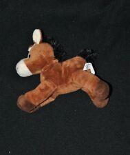 Peluche doudou âne cheval MAXITA brun marron blanc noir 14 cm de long NEUF
