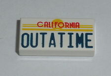 "DECORATED TILE Lego "" CALIFORNIA OUTATIME "" License Plate DeLorean 1X2 NEW BTTF"