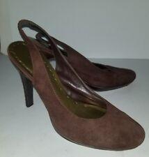 BCBG brown suede platform slingback heels. 7.5