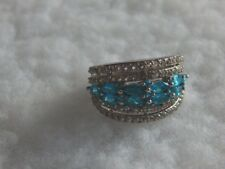 Neon Apatite and White Topaz Ring    3.170cts.      Size 6