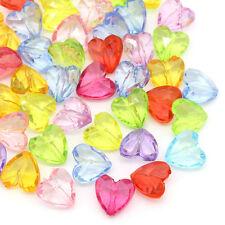 100 Mixte Perles intercalaire Acrylique Coeur Accessoire 12x12mm B28226