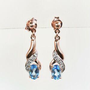 NATURAL BLUE TOPAZ EARRINGS GENUINE DIAMONDS 9K ROSE PINK GOLD GIFT BOXED NEW
