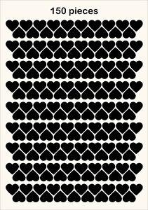 150 Heart Shape Vinyl Stickers Multi Size Self Adhesive Peel and Stick LOVE IT