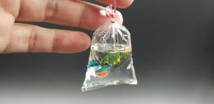 Lobster shrimp in a plastic bag for a small collection for dollhouse miniature