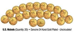 Lot of 20 Nickels Uncirculated U.S. Coins GENUINE 24K GOLD PLATED Five Cents