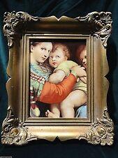 Holy Icon Painting on Porcelain Madonna Mary Jesus & John Baptist ornate frame